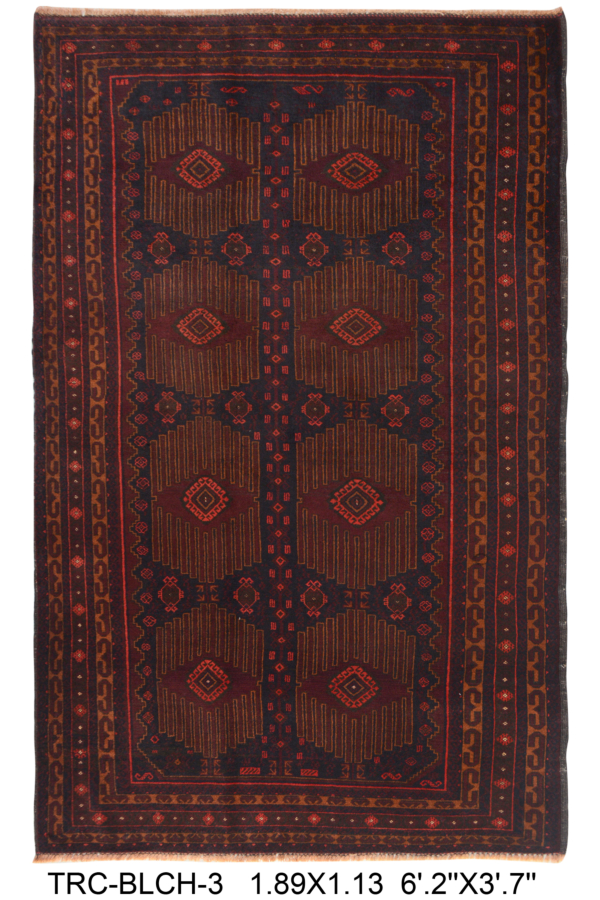 Belouch Area Rug | Size: 189 x 113 cm | Colour: Brown